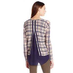 Lucky Brand Plaid Split Back Sweater